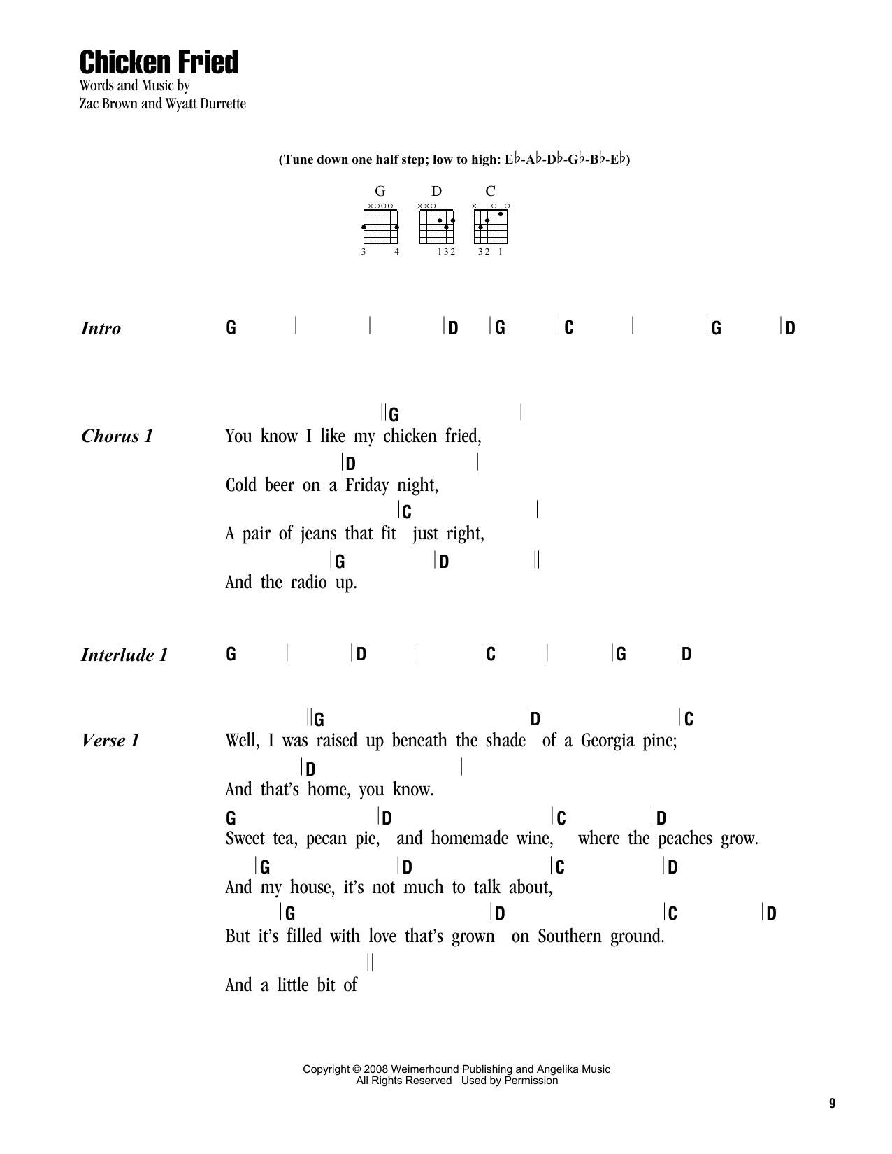 Chicken Fried Chords  Chicken Fried sheet music by Zac Brown Band Lyrics