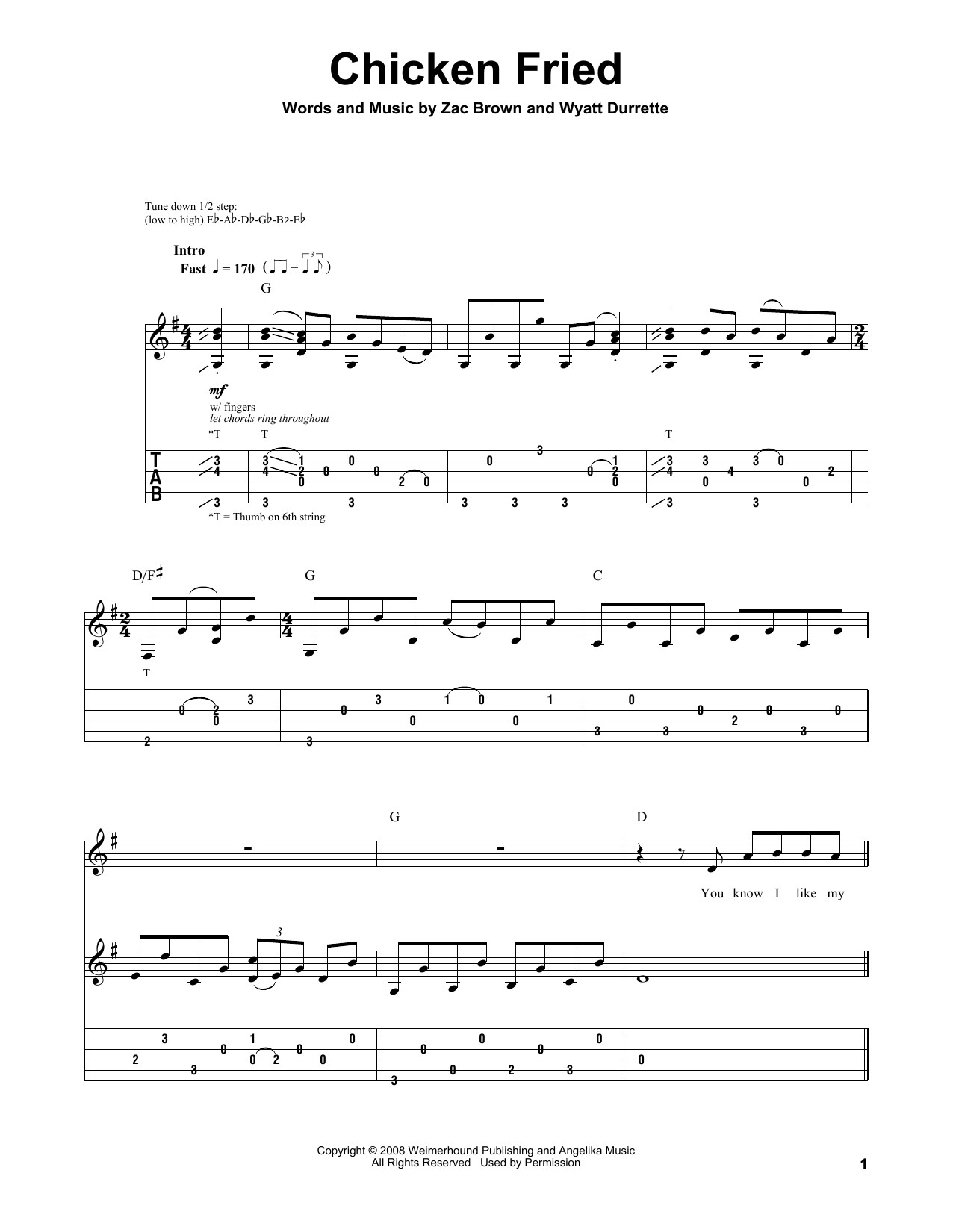 Chicken Fried Lyrics  Chicken Fried by Zac Brown Band Guitar Tab Play Along