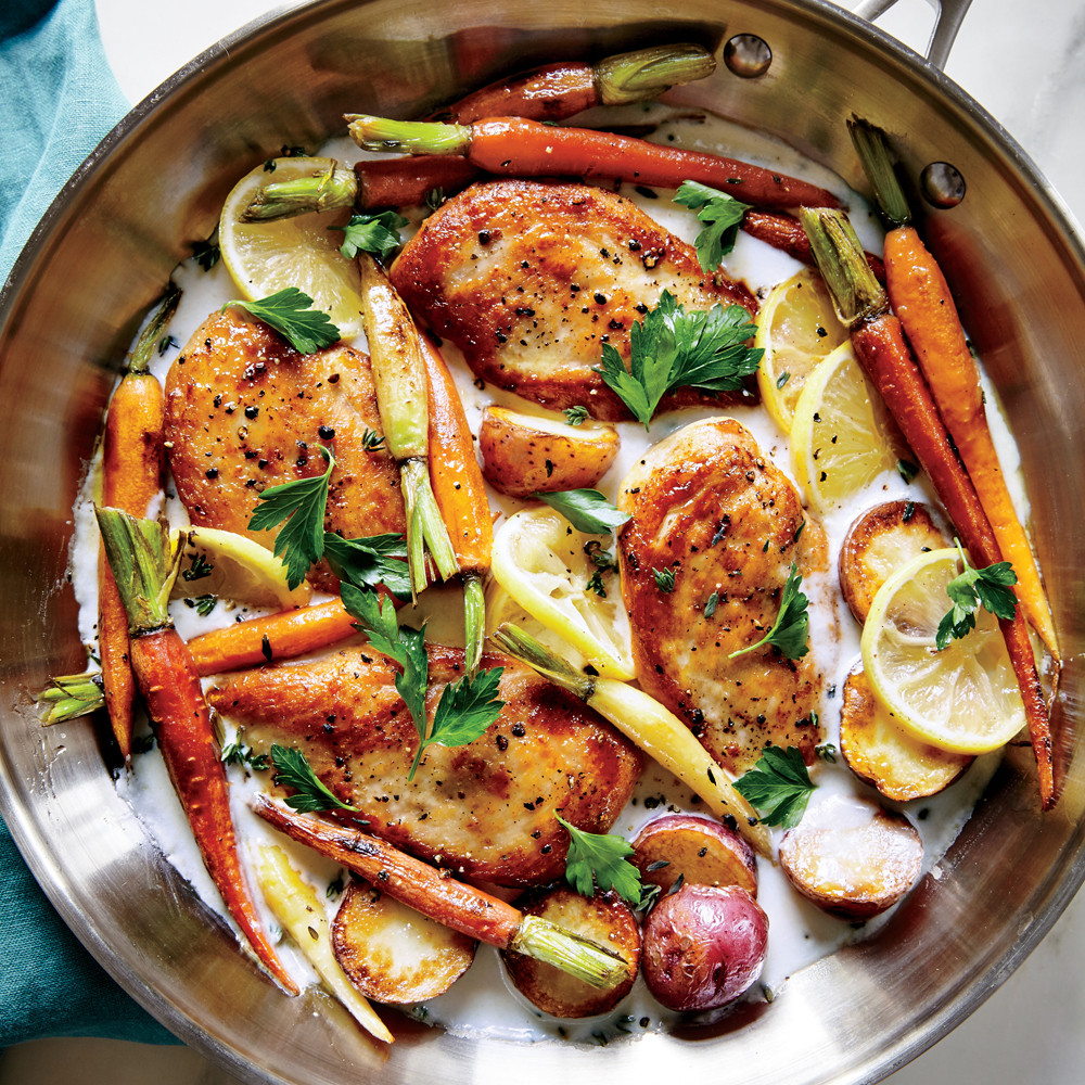 Chicken Ideas For Dinner  Skillet Chicken with Roasted Potatoes & Carrots Recipe