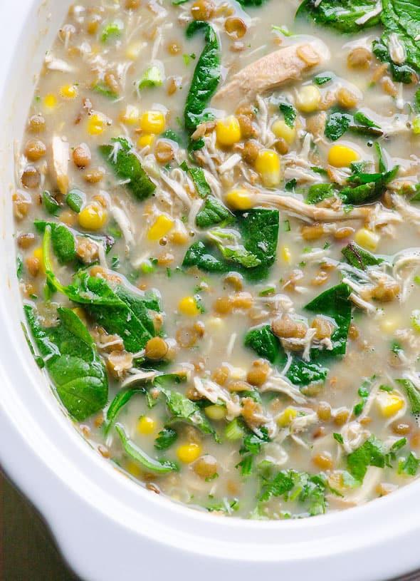 Chicken Lentil Soup  Slow Cooker Chicken Lentil Soup iFOODreal Healthy