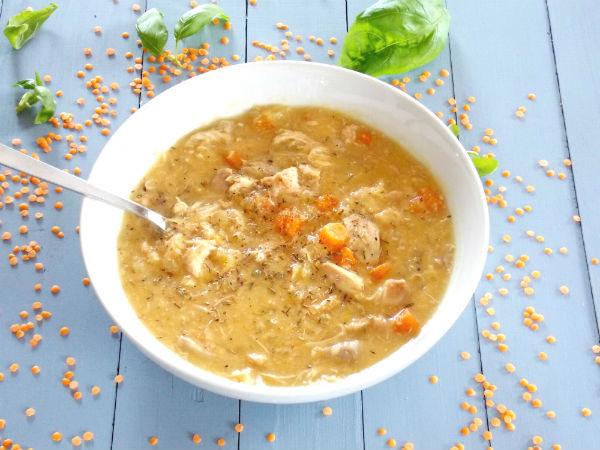 Chicken Lentil Soup  Slow Cooker Chicken and Red Lentil Soup