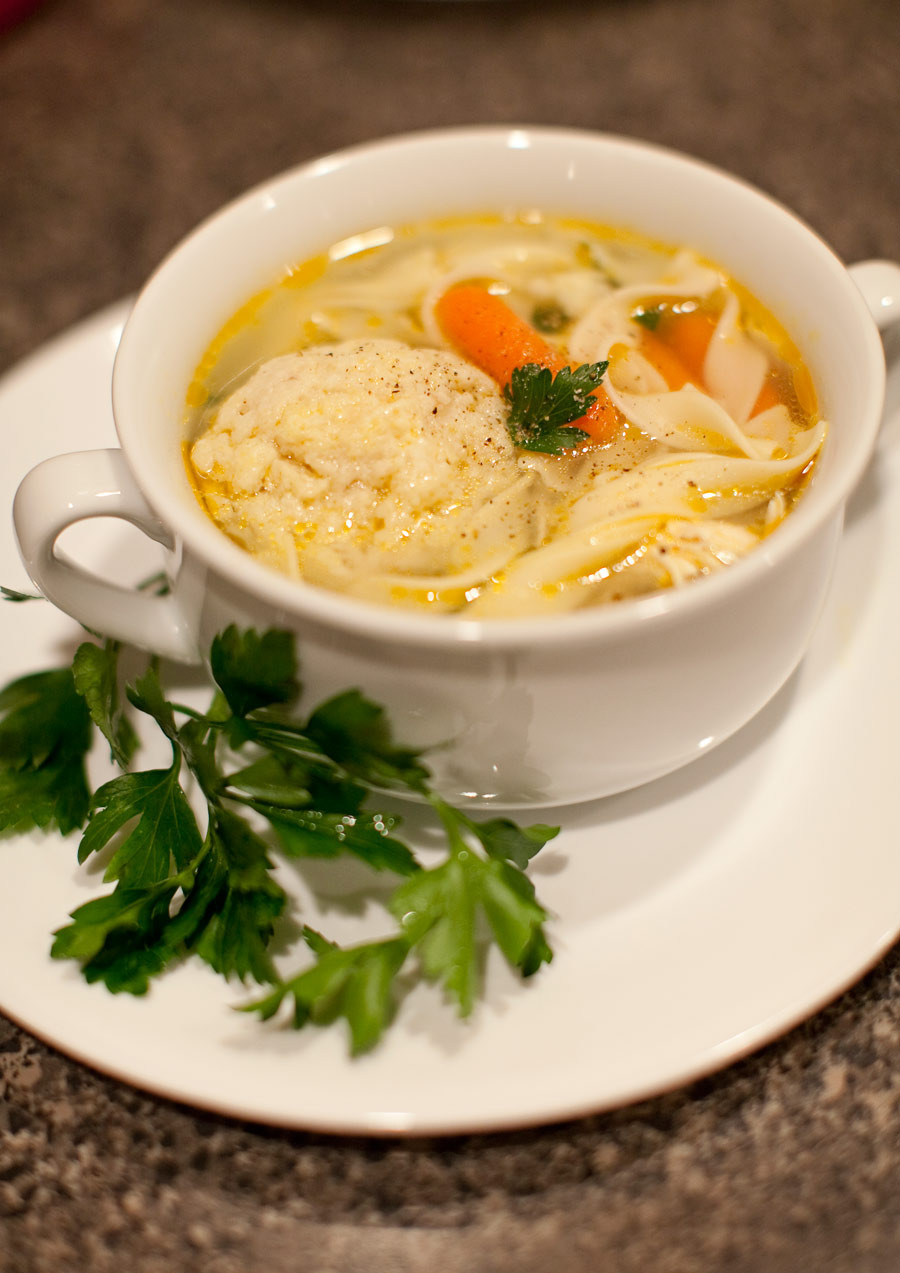 Chicken Matzo Ball Soup  4187 AMUSE BOUCHE SOUP SERIES Chicken noodle soup with