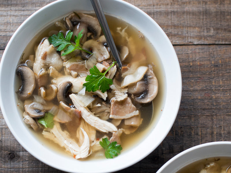 Chicken Mushroom Soup  Chicken and Mushroom Soup with Bacon Recipe Todd Porter