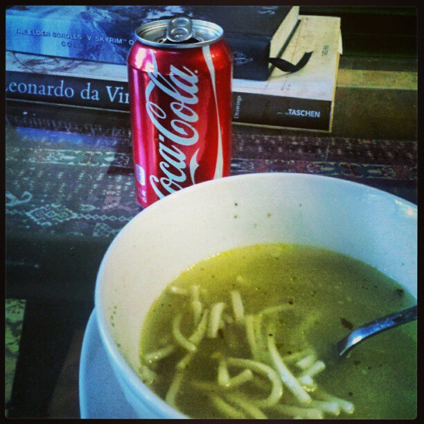 Chicken Noodle Soup With A Soda On The Side  Chicken noodle soup With a soda on the side