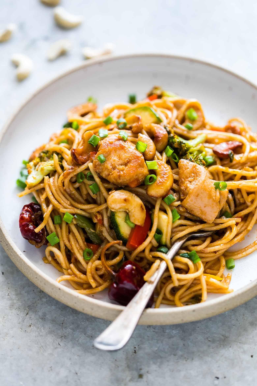 Chicken Noodles Recipe  Chinese Cashew Chicken Noodles Stir Fry Under 30 minutes