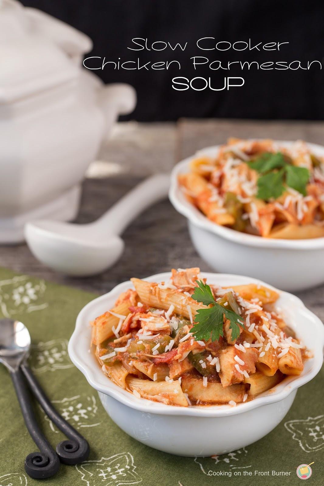 Chicken Parmesan Soup  SLOW COOKER CHICKEN PARMESAN SOUP