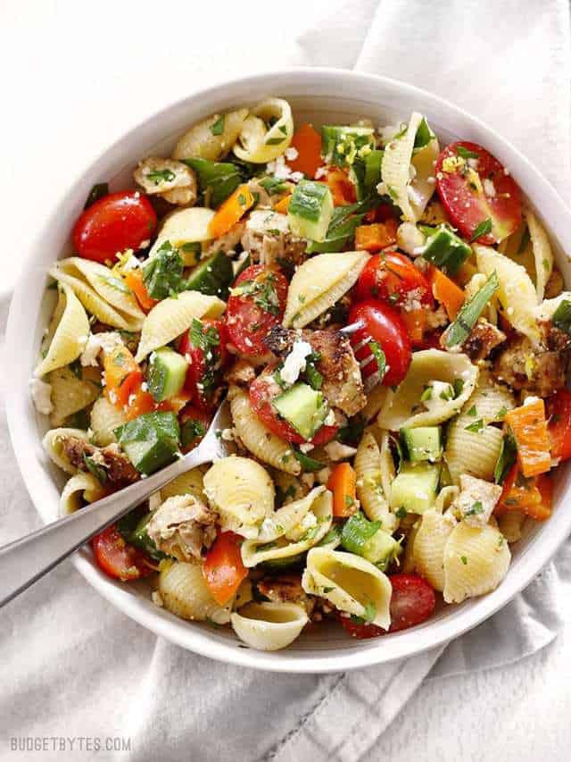 Chicken Pasta Salad  Greek Chicken Pasta Salad Bud Bytes