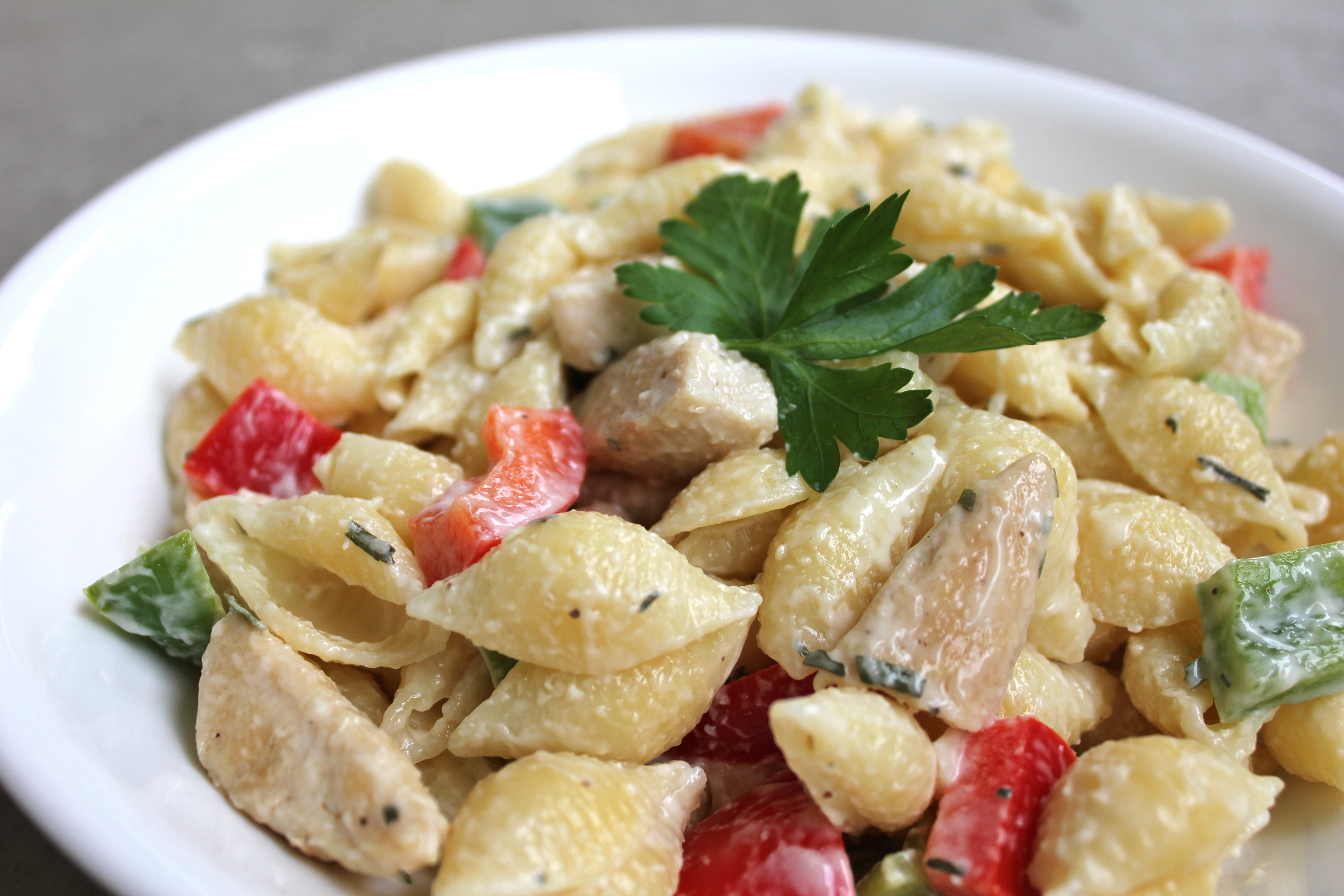 Chicken Pasta Salad With Mayo  Strange Brew Chicken and pasta salad with creamy