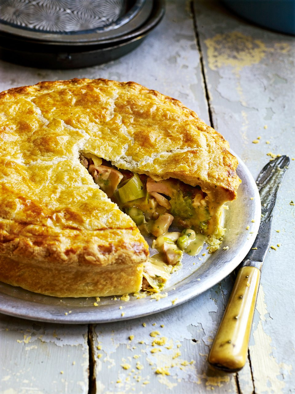 Chicken Pie Recipes  Roast chicken ham and leek pie delicious magazine