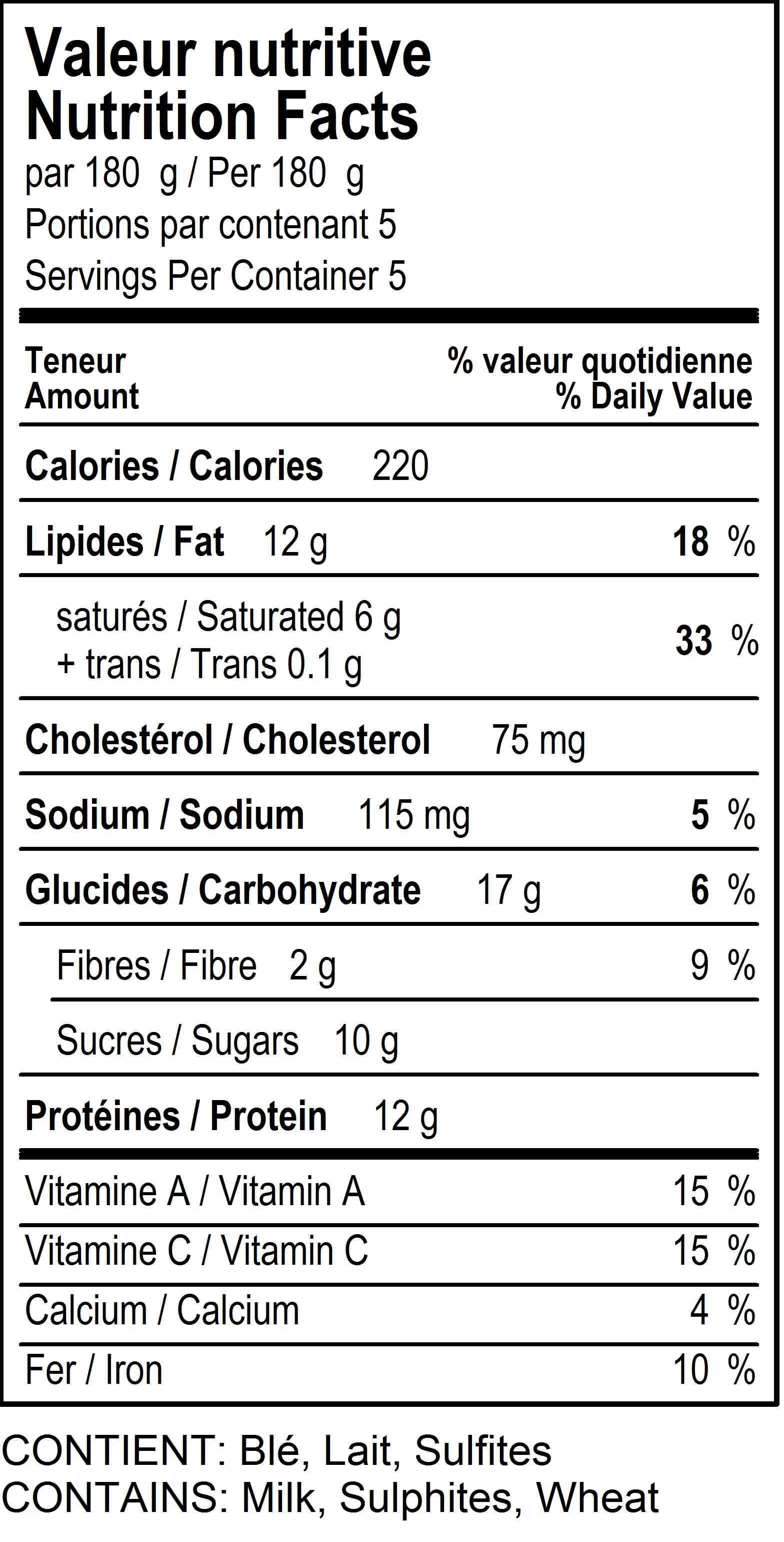 Chicken Pot Pie Calories  Chicken Pot Pie Nutrition Label