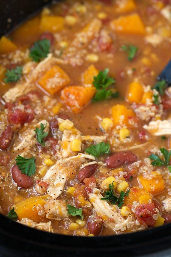 Chicken Quinoa Soup  Crockpot Butternut Squash Chicken and Quinoa Soup