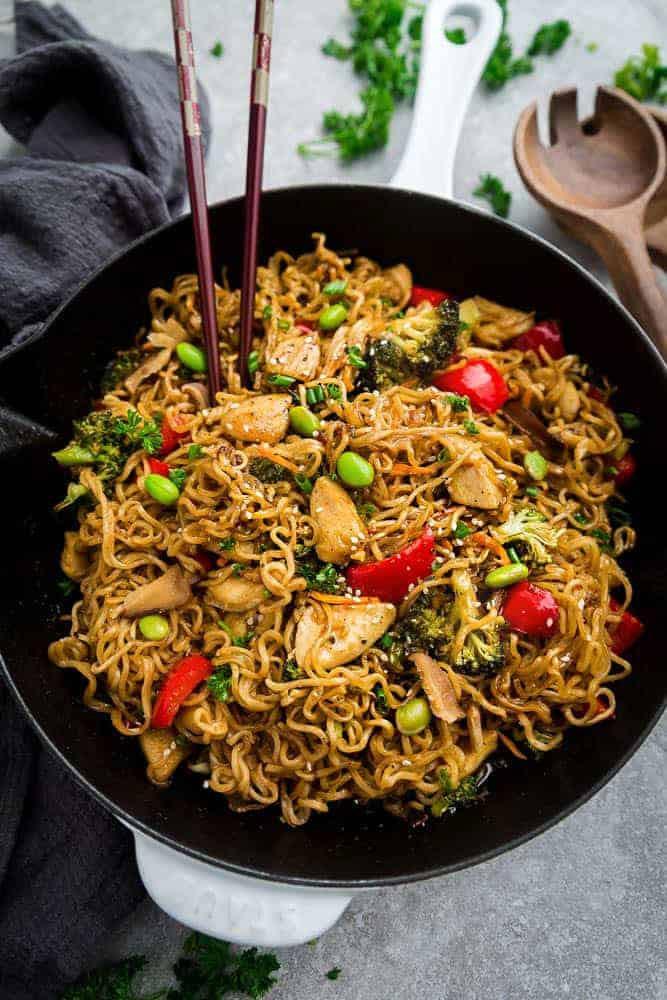 Chicken Ramen Noodles  Teriyaki Chicken Ramen Noodle Stir Fry e Pot Skilet