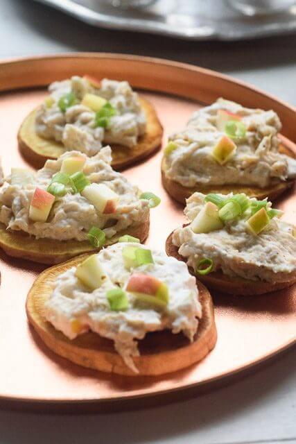 Chicken Salad Appetizer  Garlicky Chicken Salad Sweet Potato Bites