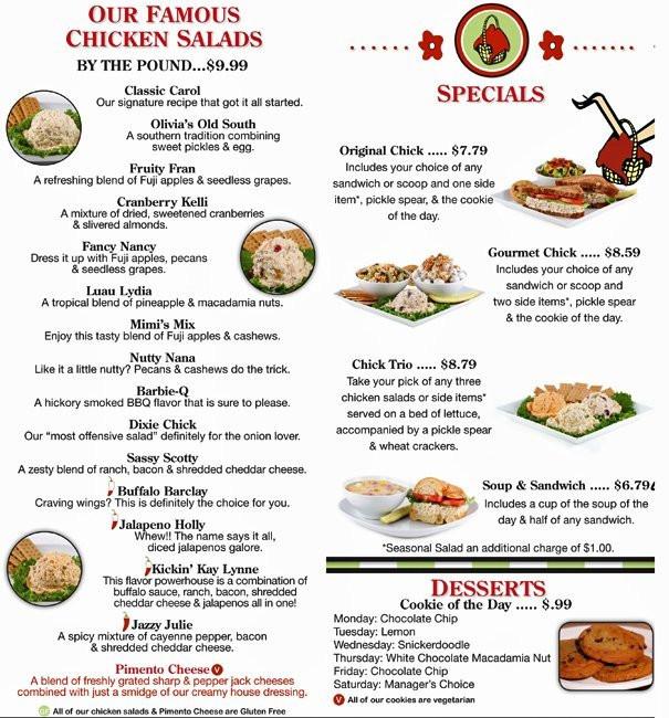 Chicken Salad Chick Menu  Chicken Salad Chick Menu Menu for Chicken Salad Chick