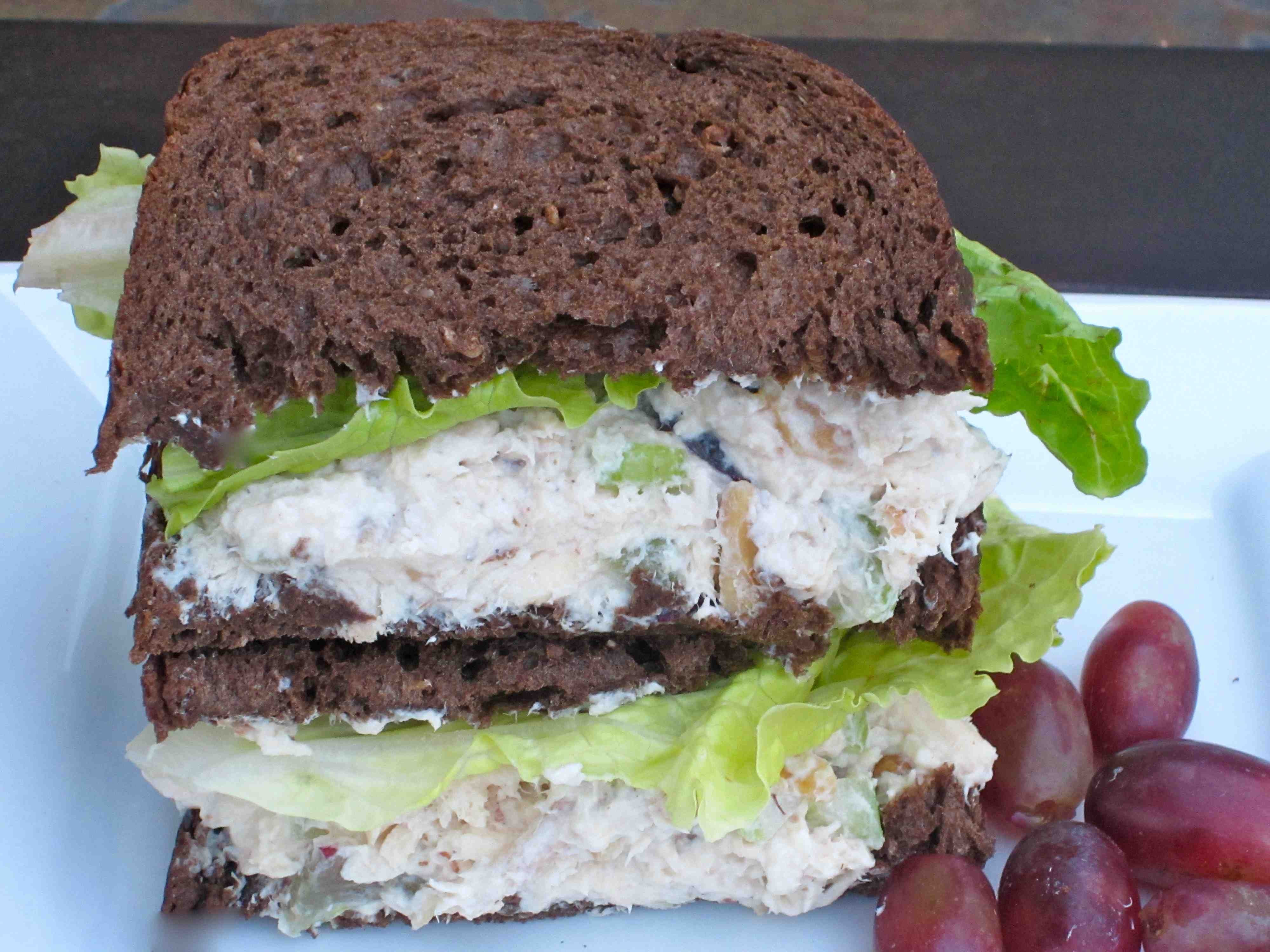Chicken Salad Sandwich With Grapes  Chicken Salad Sandwich with Bok Choy Red Grapes and Walnuts