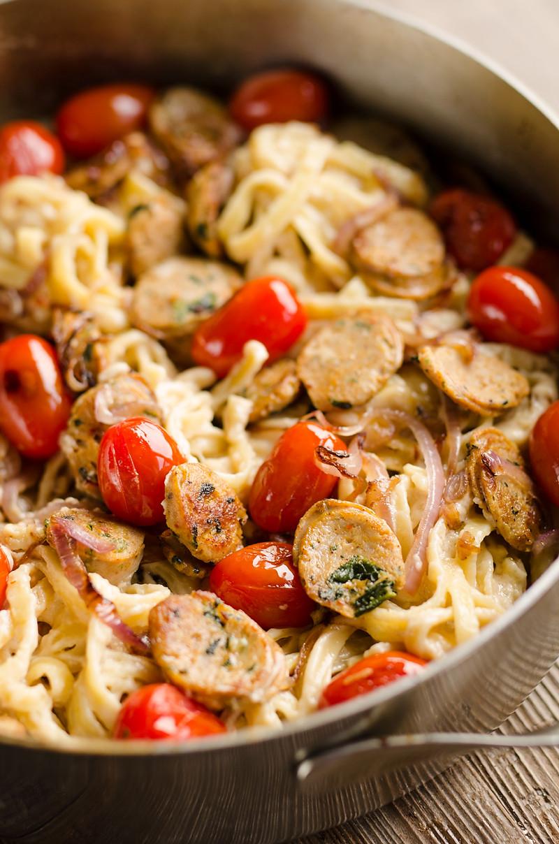Chicken Sausage Recipes  Chicken Sausage Fettuccine Alfredo 20 Minute Recipe