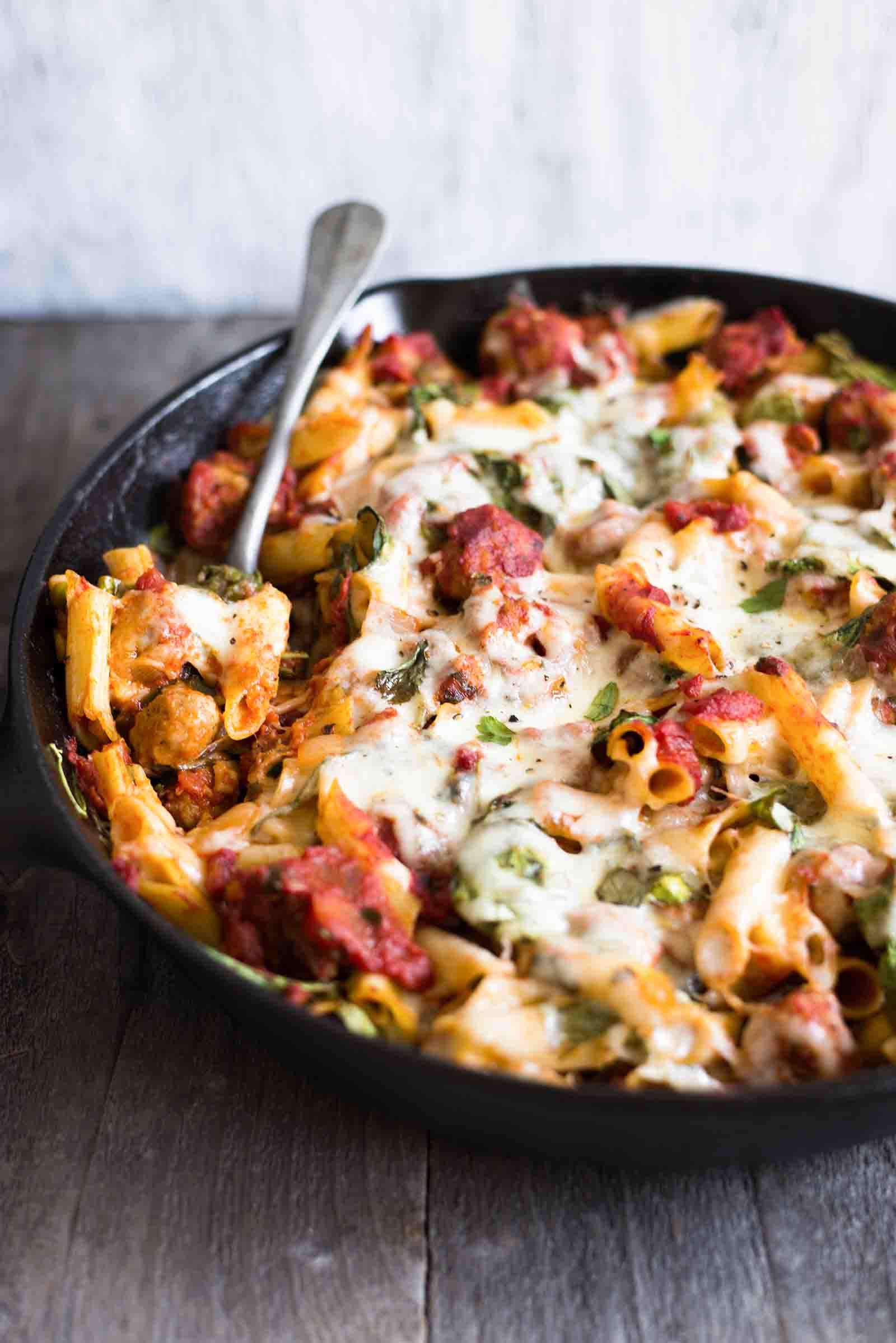 Chicken Sausage Recipes  Pasta Skillet with Chicken Sausage Cheese & Spinach