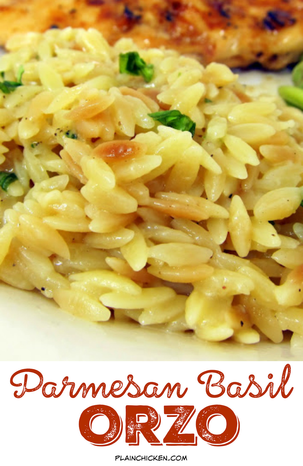 Chicken Side Dishes  Parmesan Basil Orzo Plain Chicken