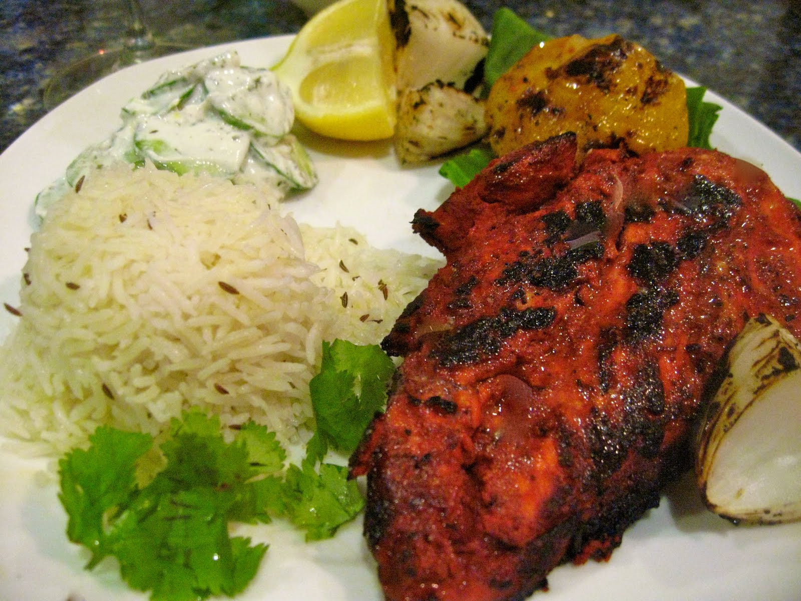 Chicken Side Dishes  Classic Spicy Tandoori Chicken and side dishes