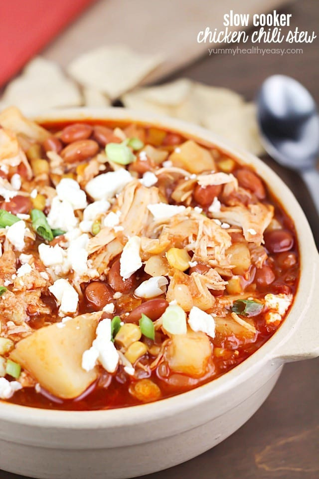 Chicken Stew Crock Pot  Crock Pot Pinto Bean Chicken Chili Stew Yummy Healthy Easy