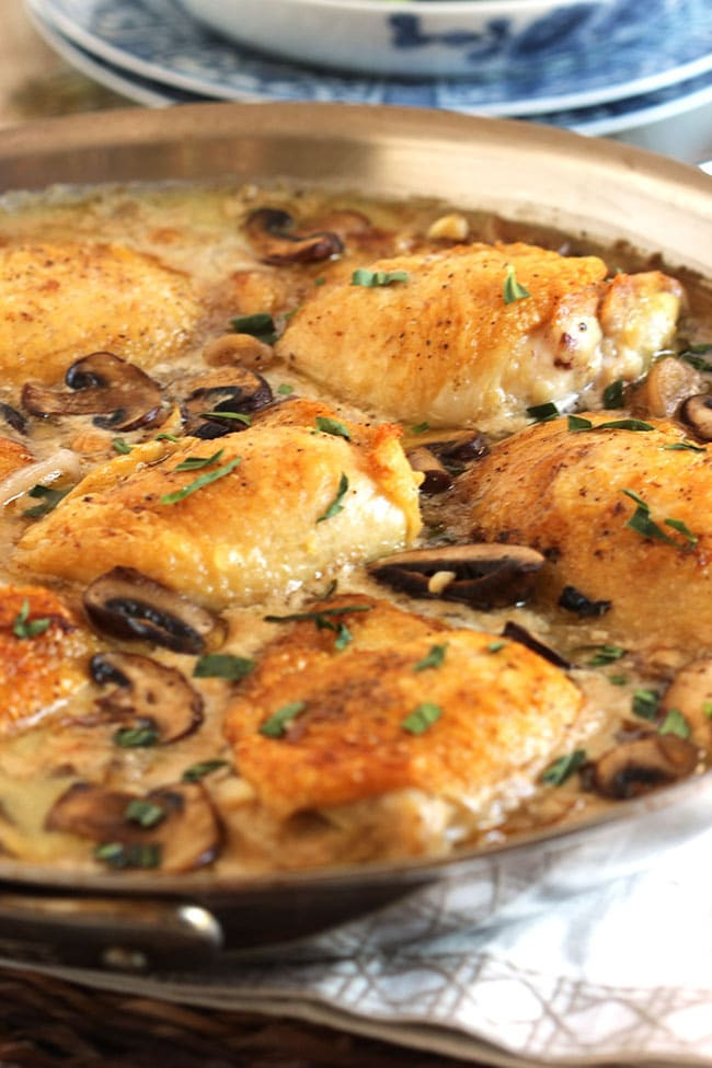 Chicken Thighs And Mushrooms  Pan Roasted Chicken Thighs with Creamy Mushroom Tarragon