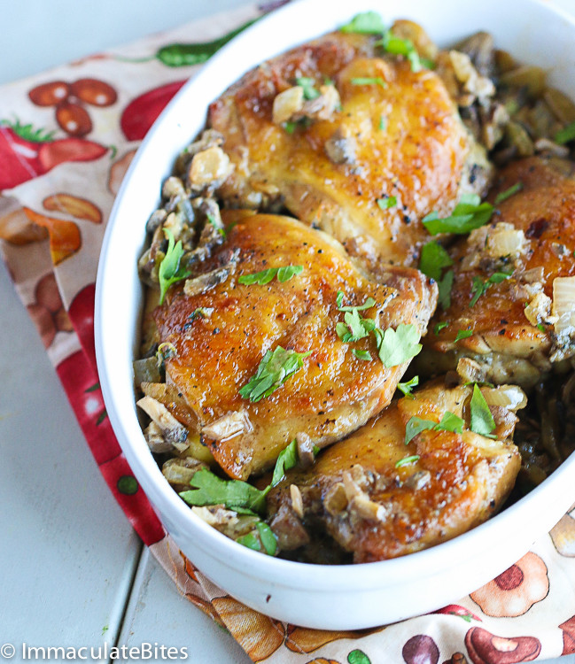 Chicken Thighs And Mushrooms  baked chicken thighs with mushrooms