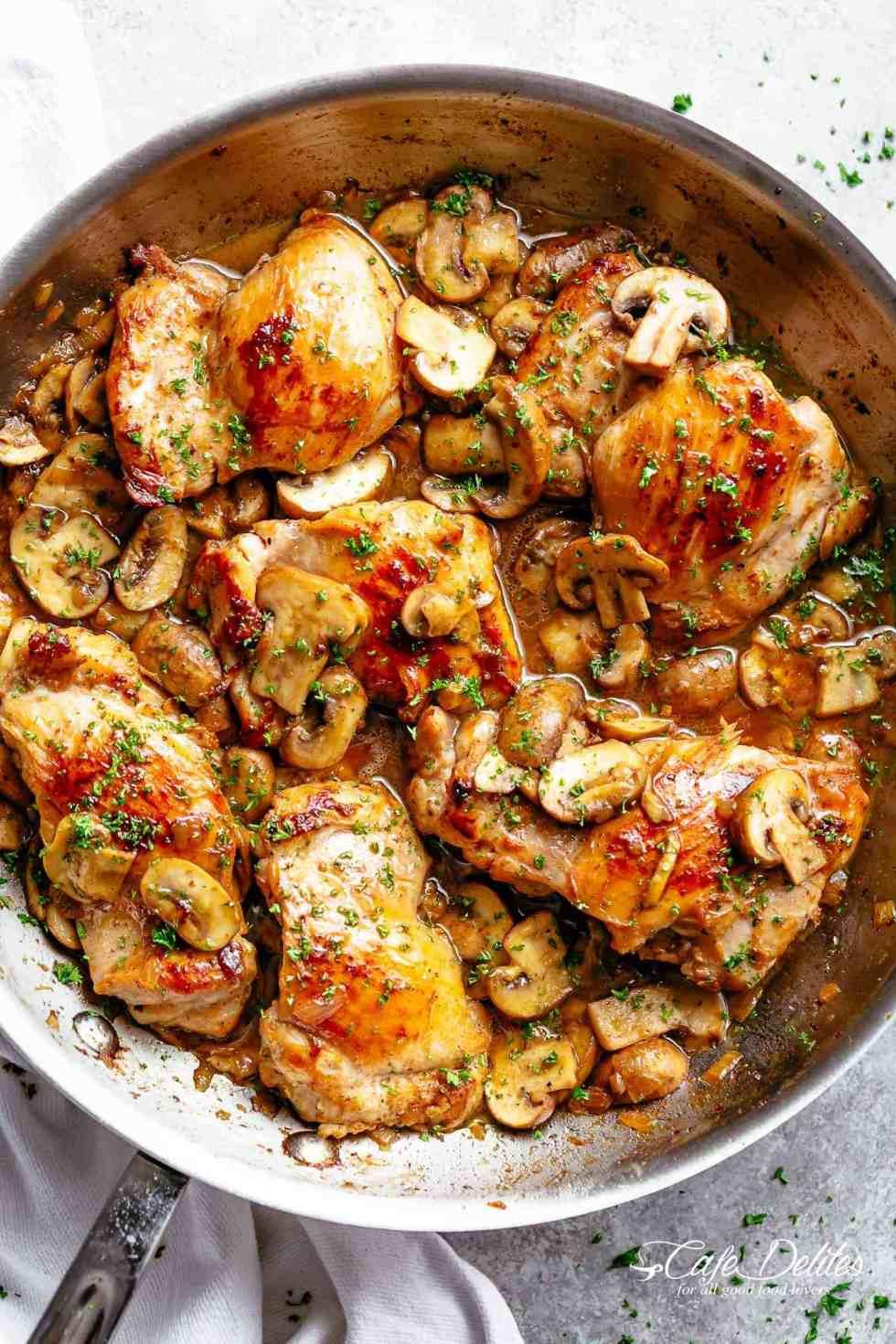 Chicken Thighs And Mushrooms  Garlic Mushroom Chicken Thighs Cafe Delites
