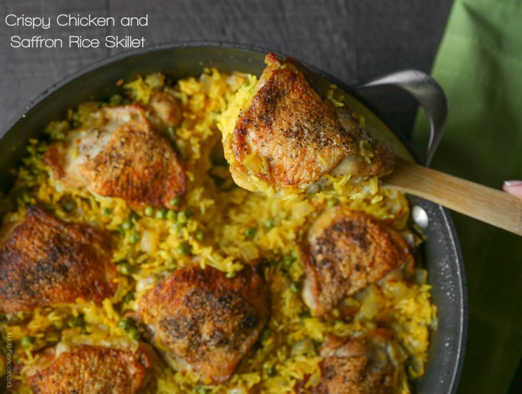 Chicken Thighs And Rice  Crispy Chicken and Saffron Rice Skillet — Tastes Lovely