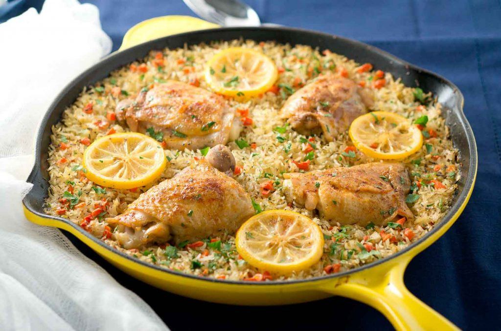 Chicken Thighs And Rice  e Skillet Mediterranean Chicken and Rice