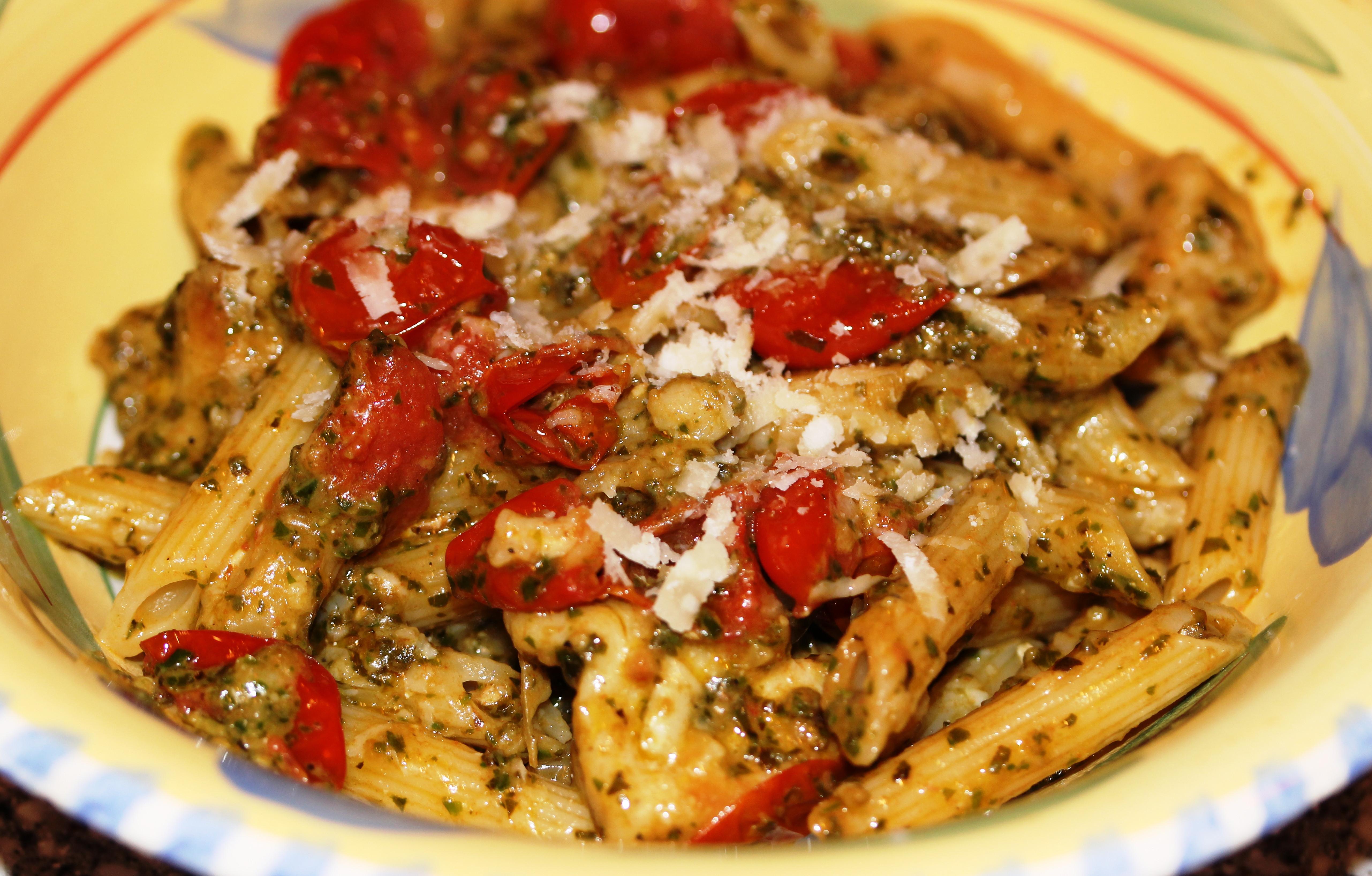 Chicken Tomato Pasta  Pasta Pesto with Chicken & Grape Tomatoes Cook Eat Run