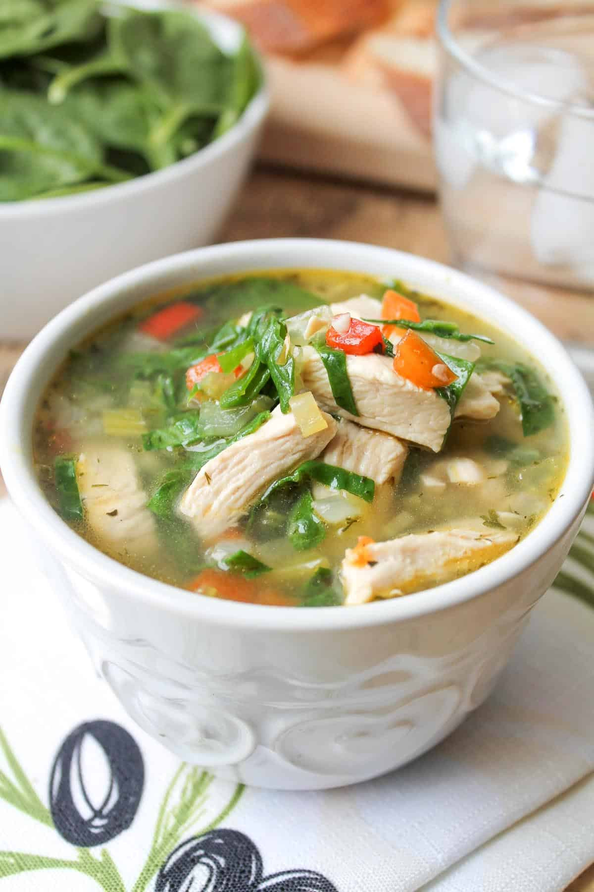 Chicken Vegetable Soup Recipes  Chicken Ve able Soup with Spinach
