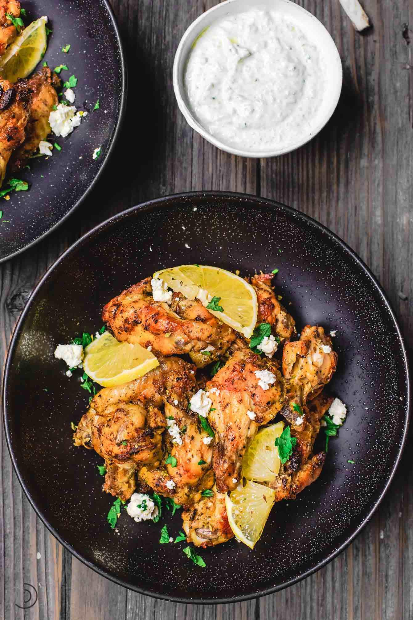 Chicken Wings Recipe  Greek Baked Chicken Wings Recipe with Tzatziki Sauce