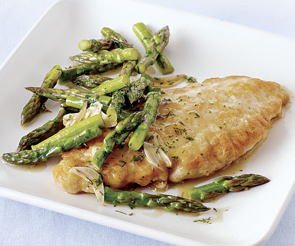Chicken With Asparagus  Chicken Paillards with Asparagus Lemon Garlic and Dill