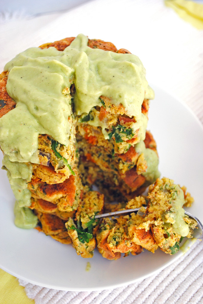 Chickpea Flour Pancakes  Fluffy Chickpea Pancakes with Ve ables Avocado Sauce