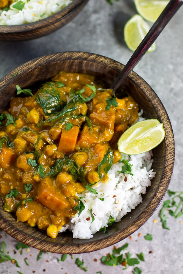Chickpea Potato Curry  Vegan Sweet Potato Chickpea & Spinach Coconut Curry