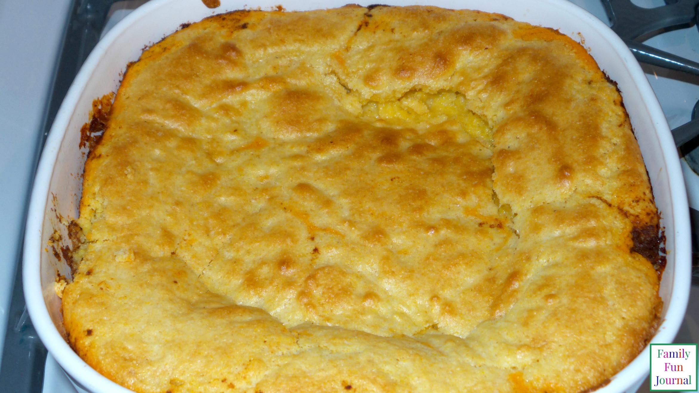 Chili Cornbread Casserole  Chili Cornbread Casserole Family Fun Journal