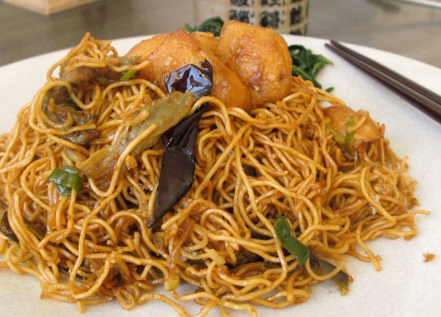 Chinese Egg Noodles Recipe  chinese egg noodles with fried tofu and eggplant