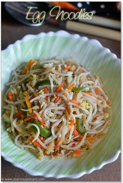 Chinese Egg Noodles Recipe  Egg Noodles Chinese Egg Hakka Noodles Recipe Sharmis