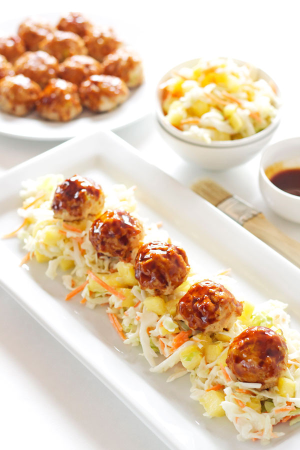 Chinese Food Appetizers  Asian Meatballs with Pineapple Slaw Recipe Runner