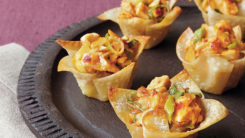 Chinese Food Appetizers  Asian Chicken Wonton Cups Recipe BettyCrocker