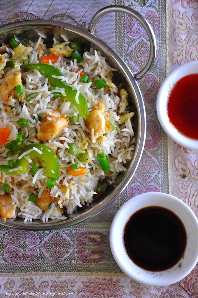 Chinese Fried Rice Restaurant Style  Indo Chinese Chicken Fried Rice
