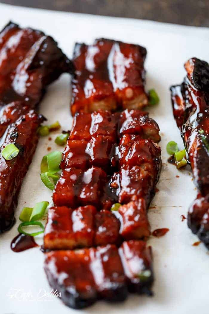 Chinese Pork Ribs  Sticky Chinese Barbecue Pork Belly Char Siu Cafe Delites