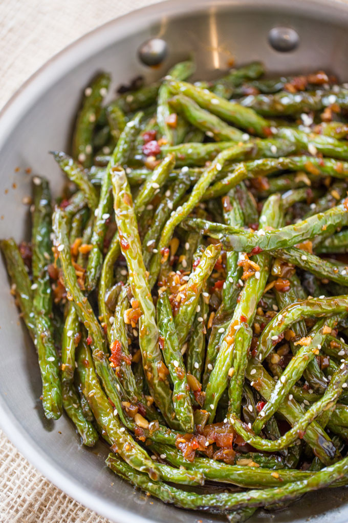 Chinese Side Dishes  Spicy Chinese Sichuan Green Beans Dinner then Dessert
