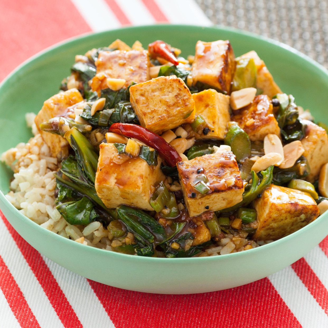 Chinese Tofu Recipes  Recipe Kung Pao Tofu with Chinese Broccoli & Brown Rice
