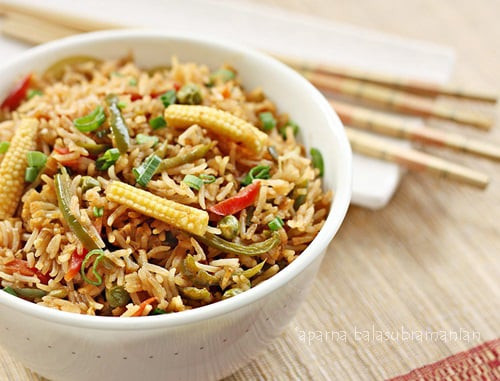 Chinese Vegetable Fried Rice  Indian Style Chinese Ve able Fried Rice Recipe