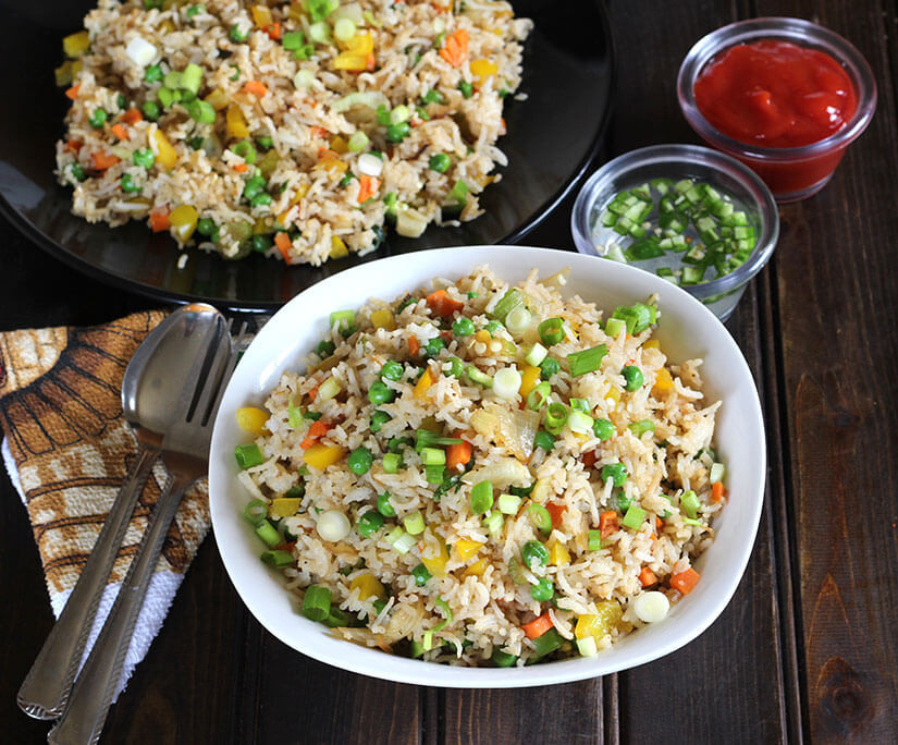 Chinese Vegetable Fried Rice  INDO CHINESE FRIED RICE Cook with Kushi