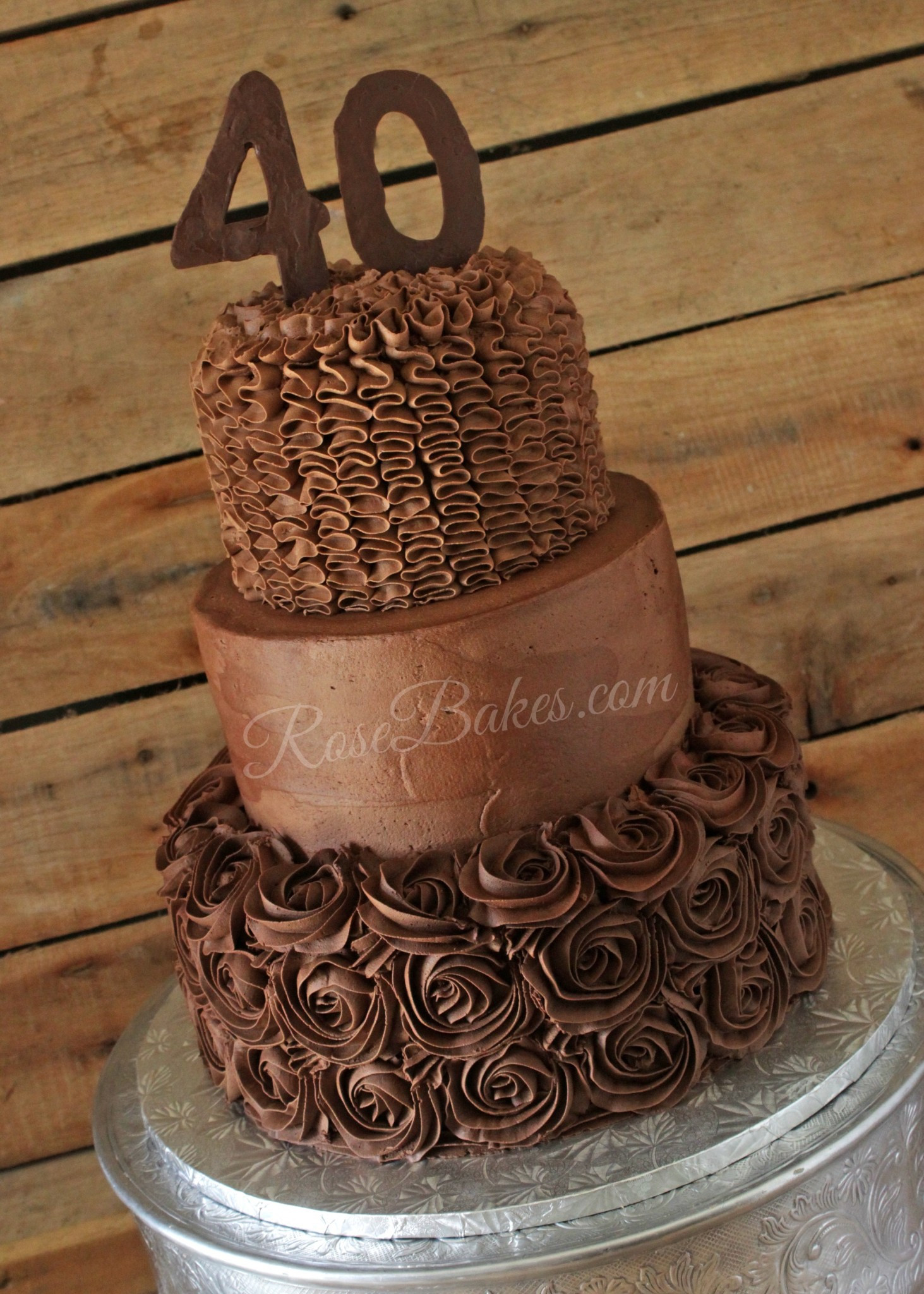 "Chocolate Birthday Cake  ""Over the Hill"" 40th Birthday Cake Rose Bakes"