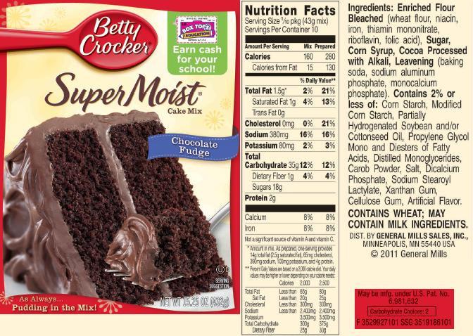 Chocolate Cake Calories  betty crocker chocolate cake mix nutrition