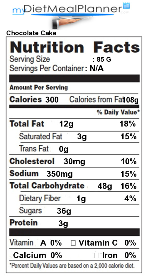 Chocolate Cake Calories  Nutrition facts Label Sweets Candy & Desserts 10