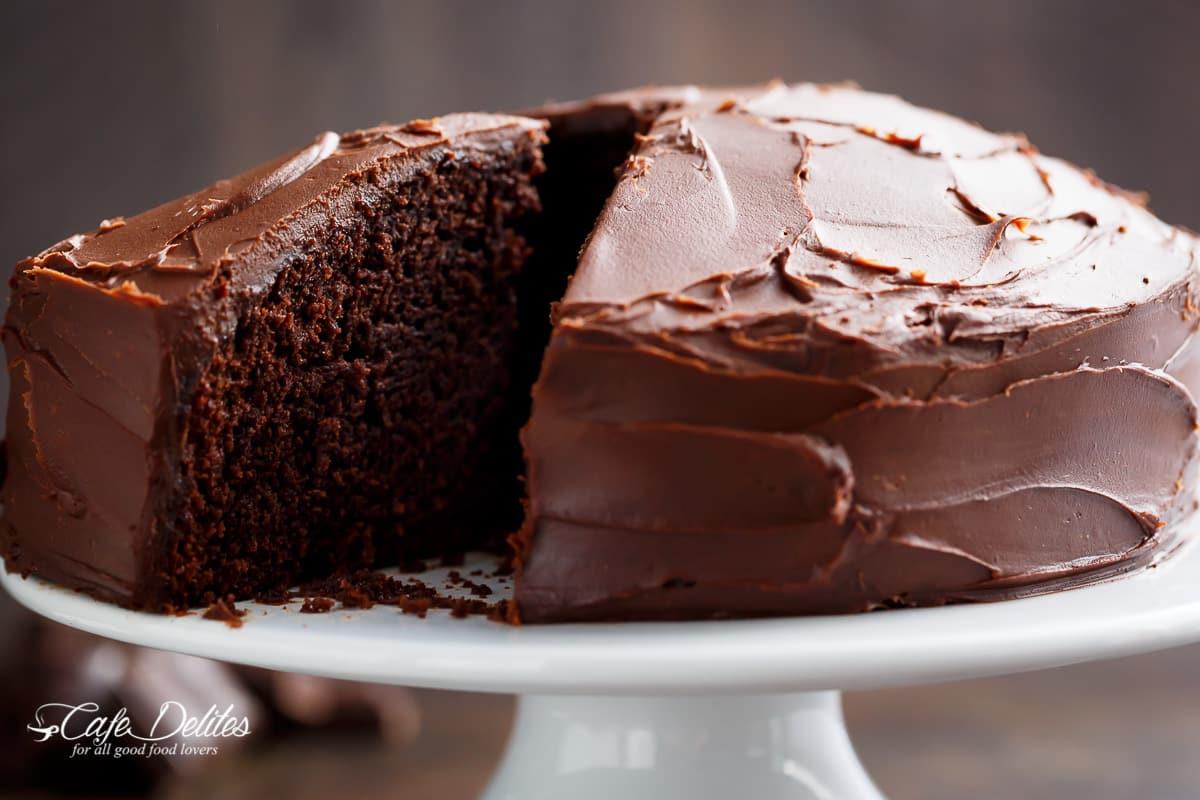 Chocolate Cake Recipe  Best Fudgy Chocolate Cake Cafe Delites